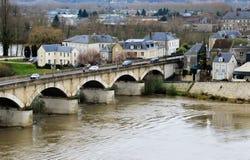 Stenbro i historiska Amboise Royaltyfri Foto