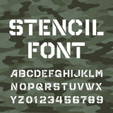 Stencil alphabet font. Type letters and numbers. Stock Photography