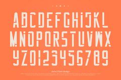 Stencil alphabet letters and numbers. , geometric font type Stock Photography