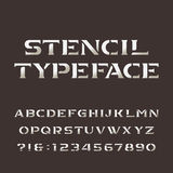 Stencil alphabet. Retro alphabet vector font. Letters and numbers. Stock Images