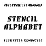 Stencil alphabet vector font. Modern type letters and numbers. Stock Image