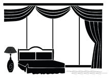 Stencil bedrooms. A simple illustration of a bedroom on a white background Royalty Free Stock Photography