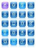 Stencil blue buttons for science Stock Photo