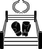 Stencil of boxer ring. vector illustration Stock Photos