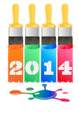 Stencil 2014. Color stencil lettering of the new 2014 stock illustration