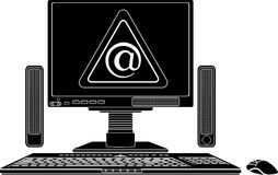 Stencil of computer with virtual danger sign Stock Photo