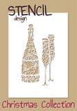 Stencil design template. Christmas collection Royalty Free Stock Photos