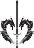 Stencil of dragons and medieval sword Stock Photos