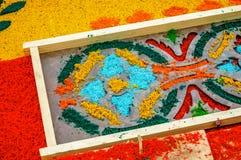 Stencil & dyed sawdust Holy Week carpet, Antigua, Guatemala Royalty Free Stock Photos