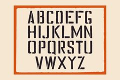 Stencil english alphabet. Stamp stencil letters with a frame. Stamp  font for urban retro signage. Stock Photography