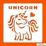 Stencil för barn unicorn royaltyfri illustrationer