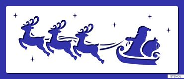 Stencil with flying Santa Claus, reindeer, bag with presents and stars. stock illustration