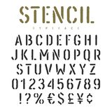 Stencil font 003. Stencil alphabet with grunge texture effect. Rough imprint stencil-plate font in military style. Vectors stock illustration