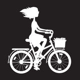 Stencil girl on bike Stock Photography