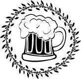 Stencil of glass of beer. Vector illustration Stock Photos