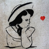 Stencil Graffiti Girl, Prague Stock Photos