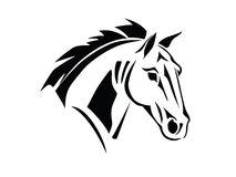 Stencil horse head side view. Stencil a horse's head on a white background Stock Images