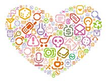 Stencil icons in heart shape Stock Photography
