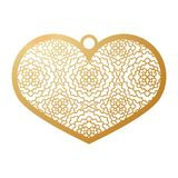 Stencil lacy heart with carved openwork pattern. Template for in. Terior design, pendant, layouts wedding cards, invitations. Image suitable for laser cutting Royalty Free Stock Photos