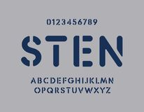Free Stencil Letters And Numbers Set. Graffity Bold Vector Latin Alphabet Template. Rounded Fat Font For Army, Auto Plate Stock Image - 163383621