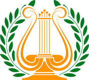 Stencil of lyre and laurel wreath Royalty Free Stock Photography