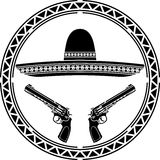 Stencil of mexican sombrero and two pistols Stock Photo