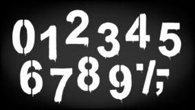 A set of numbers made by the stencil and drips of paint. Vector illustration. Stencil numeral 0 and drip paint. White on black, black on white. Vector royalty free illustration