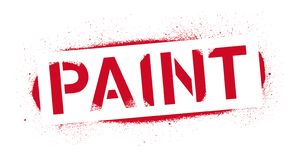 Stencil Paint inscription. Red graffiti print on white background. Vector design street art royalty free illustration