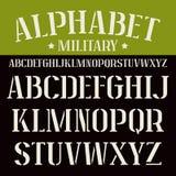 Stencil-plaat serif doopvont stock illustratie