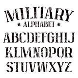Stencil-plaat serif doopvont vector illustratie