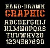 Stencil-plaat serif doopvont in de stijl van met de hand gemaakte grafiek vector illustratie