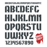 Stencil-plate military font and numeral Royalty Free Stock Images