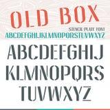 Stencil-plate narrow font Stock Photos