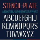 Stencil-plate narrow font Royalty Free Stock Photos