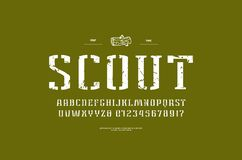 Stencil-plate narrow serif font in military style vector illustration