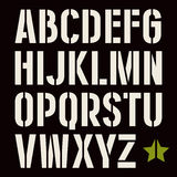 Stencil-plate sans serif font in military style. Bold face. White print on black background vector illustration