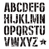 Stencil-plate sans serif font in military style. With shabby texture. Bold face. Black print on white background vector illustration