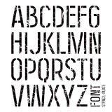 Stencil-plate sans serif font in military style Stock Image