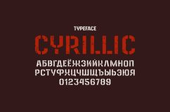 Stencil-plate sans serif font in military style Stock Photography