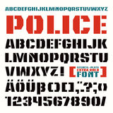 Stencil-plate sanserif font in military style. Extra bold face stock illustration