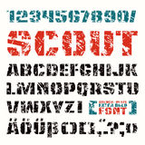 Stencil-plate sanserif font in military style. With shabby texture. Extra bold face royalty free illustration