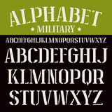 Stencil-plate serif font. Bold face. White  font on black background Stock Image