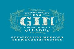 Stencil-plate serif font and gin label template. Letters and numbers with rough texture for logo and label design. Print on blue background Royalty Free Stock Image