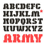 Stencil-plate serif font military Stock Images