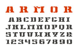 Stencil-plate serif font and numerals Stock Photography