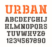 Stencil-plate serif font in urban style. On white background Stock Image