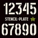 Stencil-platta nummer i militär stil Arkivbild