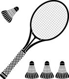 Stencil of racket and badminton shuttlecocks Stock Photos