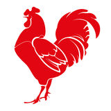 Stencil rooster, red. Vector illustration. Hand drawing on a graphic tablet. Stencil rooster, red Stock Photos