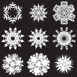 Stencil set of snowflakes Royalty Free Stock Photography